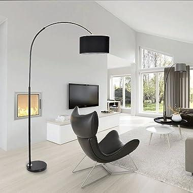 Modern LED Eye Protection Standing Arc Floor Lamp Creative Living Room Study Bedroom Bedside Nursing Table Lamp (Color : Blac