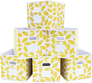MAX Houser Fabric Storage Bins Cubes Baskets Containers with Dual Plastic Handles for Home Closet Bedroom Drawers Organizers, Foldable, Set of 6 (Yellow)