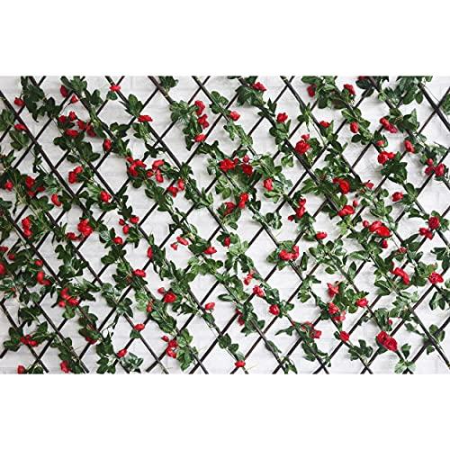 HOGAR Y MAS Celosía Extensible, Jardín Vertical/Horizontal con Estructura. Flores Hojas Artificiales Enredadera Pared - Rojo
