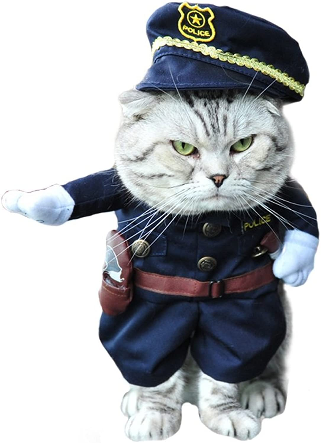 Albabara Pet Policeman Costumes Dog Cat Costume Clothes Novelty Funny Pets Halloween Party Cosplay Pet Suit Cool Police Uniform with Hat Dog Halloween Costumes for Small,Medium Dogs Cats