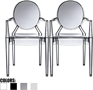 2xhome Set of 2 Modern Ghost Chair Armchair with Arm Polycarbonate Plastic (Smoke)