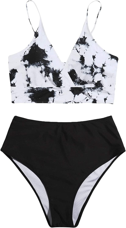 SOLY HUX Women's Plus Size Tie Dye Ruched Bikini Bathing Suits 2 Piece Swimsuits