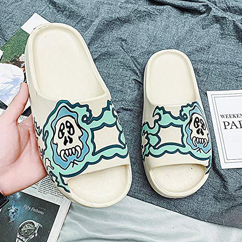 YYFF Zapatillas de Estar por Casa,Wear Platform Slippers and Flip-Flops on The Beach-Green_40,Sandalia Mujer