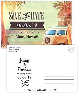 Custom - Beach Wedding Save The Date Invitation Postcard - Set of 25, Personalized Wedding Invitation, Hawaiian Wedding, Vintage Beach Theme