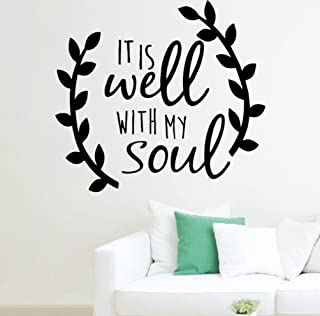 BIBITIME It Is Well with My Soul Decal White Vinyl Wall Art Sticker Inspirational Quotes Sayings Lettering Words for Living Room Nursery Classroom,11.69