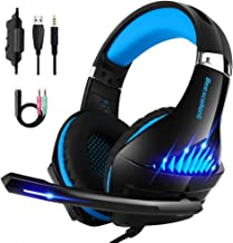 Gaming Headset for Xbox One, PS4 and PC with Microphone, Noise Cancelling Over-Ear Headphones with Mic, Led Lights, Volume Control (Beexcellent)