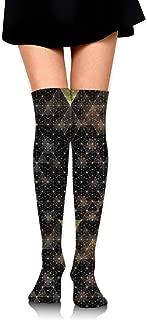 X-PEACH Sacred Geometry Women Men Long Striped Socks Over Knee Thigh High Socks Stocking