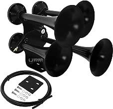Vixen Horns Train Horn for Truck/Car. 4 Air Horn Black Heavy Duty Trumpets. Super Loud dB. Fits 12v Vehicles Like Semi/Pickup/Jeep/RV/SUV VXH4318B