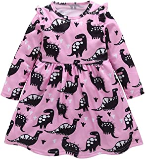 Toddler Baby Girl Summer Dress Dinosaur Printed Skirt Small Fly Sleeve Outfits Clothes Set