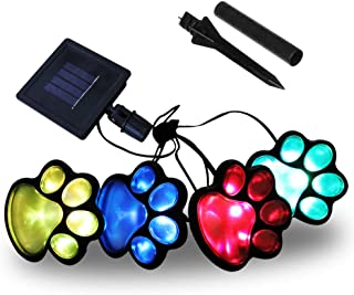 Obrecis LED Solar Paw Print Outdoor Decor Solar Light, Dog Puppy, Bear, Animal, Cat Paw Path Light, Garden Lamp for Landscape Walkway Yard, Set of 4(Colorful)
