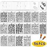 Jekkis 56 Pack Letter and Number Stencils Alphabet Templates Drawing Painting on Wood Reusable Plastic Art Craft Stencils for Journal Stencil DIY Craft Project