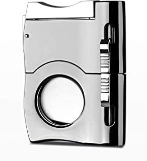 2019 Cigar Cutter Built In Two Cigar Punch - Silver Color Chrome Finish - Self Sharpening Blades - Stainless Steel - Black Gift Box - Suitable for Travel - Smoking Accessories - Gifts for Dad