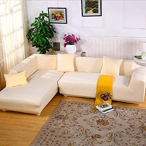 Jian ya na Stretch copridivani Poliestere Spandex Fabric Fodera 2pcs Poliestere Elasticizzato Slipcovers + 2pcs federe per Divano a L Couch Beige