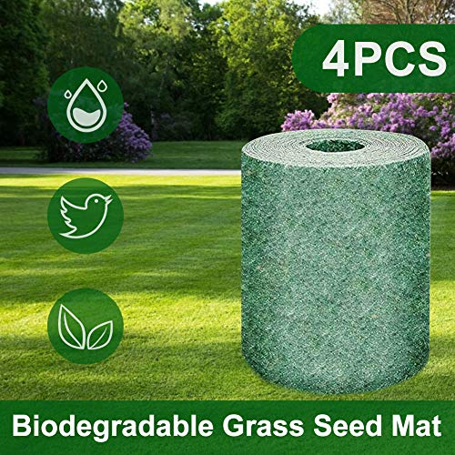 Biodegradable Grass Seed mat can Help Plant Growth and Germination mat Planting mat, Heat Insulation, moisturizing, Shade Garden Lawn Erosion Control Blanket Grass Seed mat (4PCS)