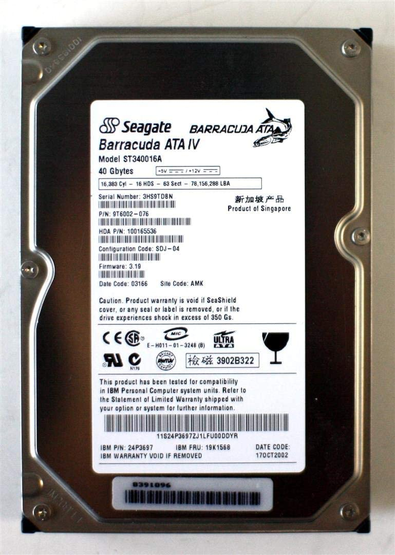 IBM Limited time cheap sale HDD 40GB ATA New arrival IV FRU: 24P3697 9T6002-076 19K156 ST340016A