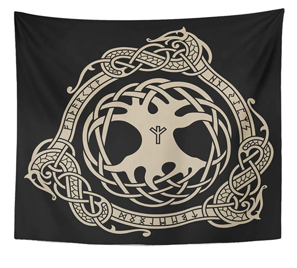 Emvency Tapestry Artwork Wall Hanging Yggdrasil Design of Raven in Celtic Scandinavian Style and Norse Runes Black Ancient 50x60 Inches Tapestries Mattress Tablecloth Curtain Home Decor Print