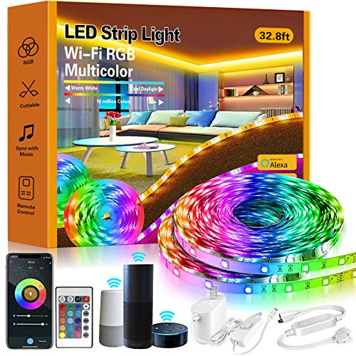 ROMALL Smart LED Strip Lights,32.8ft RGB LED Lights with App Control, 16 Million Colors WiFi Light Strips for Bedroom,Kitchen,Dorm Room, Bar, Work with Alexa and Google Assistant