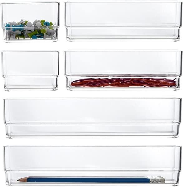 STORi Clear 塑料梳妆台和书桌抽屉组织者 6 件套