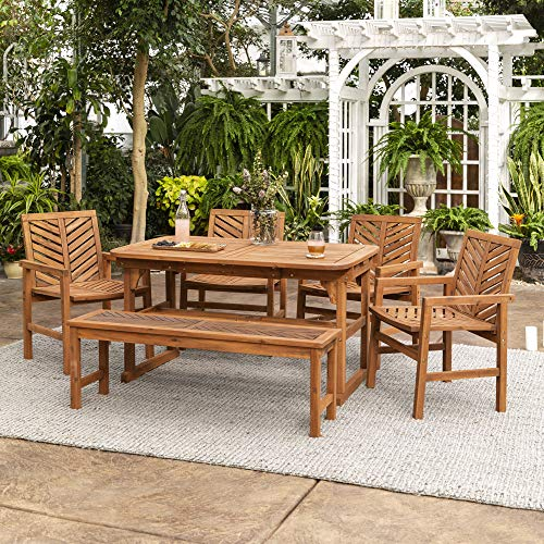 Walker Edison AZW6TXVINBR 7 Person Outdoor Wood Chevron Patio Furniture Dining Set Extendable Table Chairs Bench All Weather Backyard Conversation Garden Poolside Balcony, Brown