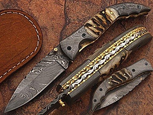HNS Damascus Steel Blade Pocket/Folding Hunting Knife (LARG 5073)