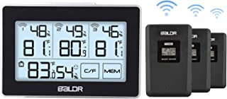 Zeonetak Digital Indoor Outdoor Thermometer Hygrometer Wireless with 3 Remote Sensors, Temperature Humidity Gauge for Baby Room Kitchen Greenhouse Touch LED Screen Arrow Trends °C/°F MIN/MAX Records