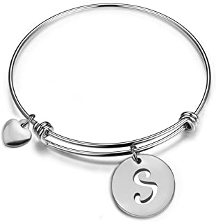 Zuo Bao Silver Initial Disc Expandable Wire Bracelet Bangle with Heart Charm Stainless Steel Alphabet Charms Bangle Letter Bracelet