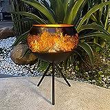 Solar Flickering Flame Lantern Outdoor, 9' Solar Waterproof Garden Landscape Floor Table Lanterns Lamp, Solar Metal Hollow Out LED Lantern Light for Patio Pathway Deck Yard
