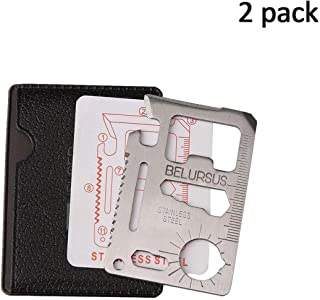 Stainless Steel Credit Card Survival 11-Tools-in-1 / Multipurpose Silver Beer Bottle Opener/Portable Wallet Pocket Size/Valentines Day Gift for Men (2-Pack)