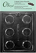CybrTrayd AO138-3BUNDLE Plain Cookie Chocolate Candy Mold with Exclusive Copyrighted Chocolate Molding Instructions, Pack ...