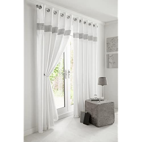 Grey White Curtains Amazoncouk