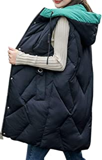 Womens Sleeveless Hoodie Full Zip Long Down Quilted Vest Waistcoat Jacket