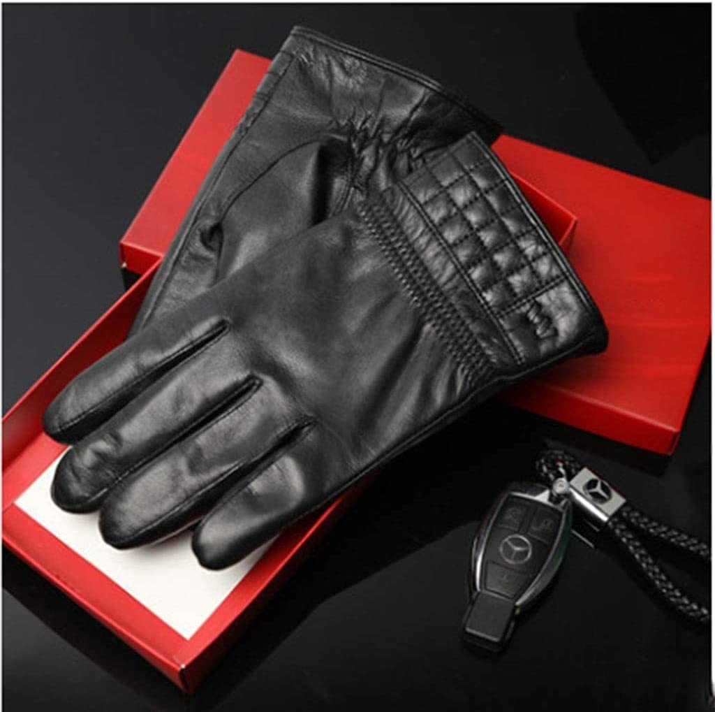 RSQJ Men's Leather Gloves Men's Winter Thick Warm and Velvet Touch Screen Driving Riding Leather Men's Gloves (Color : A, Size : X-Large) (Color : A, Size : Medium)