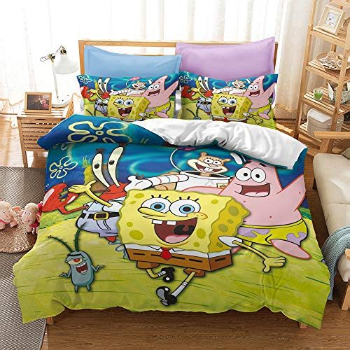 3D Spongebob Duvet Cover Set for Teens Boys Queen Size Bed 3 Piece Soft Bedding Comforter Cover Sets 1 Quilt Cover + 2 Pillowcases