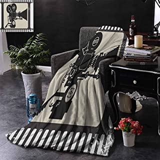 Kenneth Camilla Throw Blanket Movie Theater,Movie Frame Pattern with Silhouette of Movie Reels in a Projector,Dark Taupe Beige Black,Personalized Baby Blanket Multicolor 60