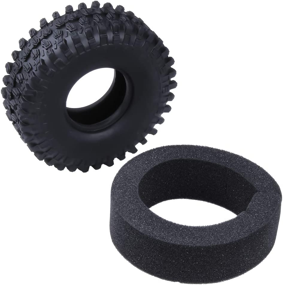 Sliver Hobbypark 1.9 Beadlock Wheels /& Tires 12mm Hub Aluminum for Traxxas TRX-4 Axial SCX10 1//10 RC Crawler,Set of 4