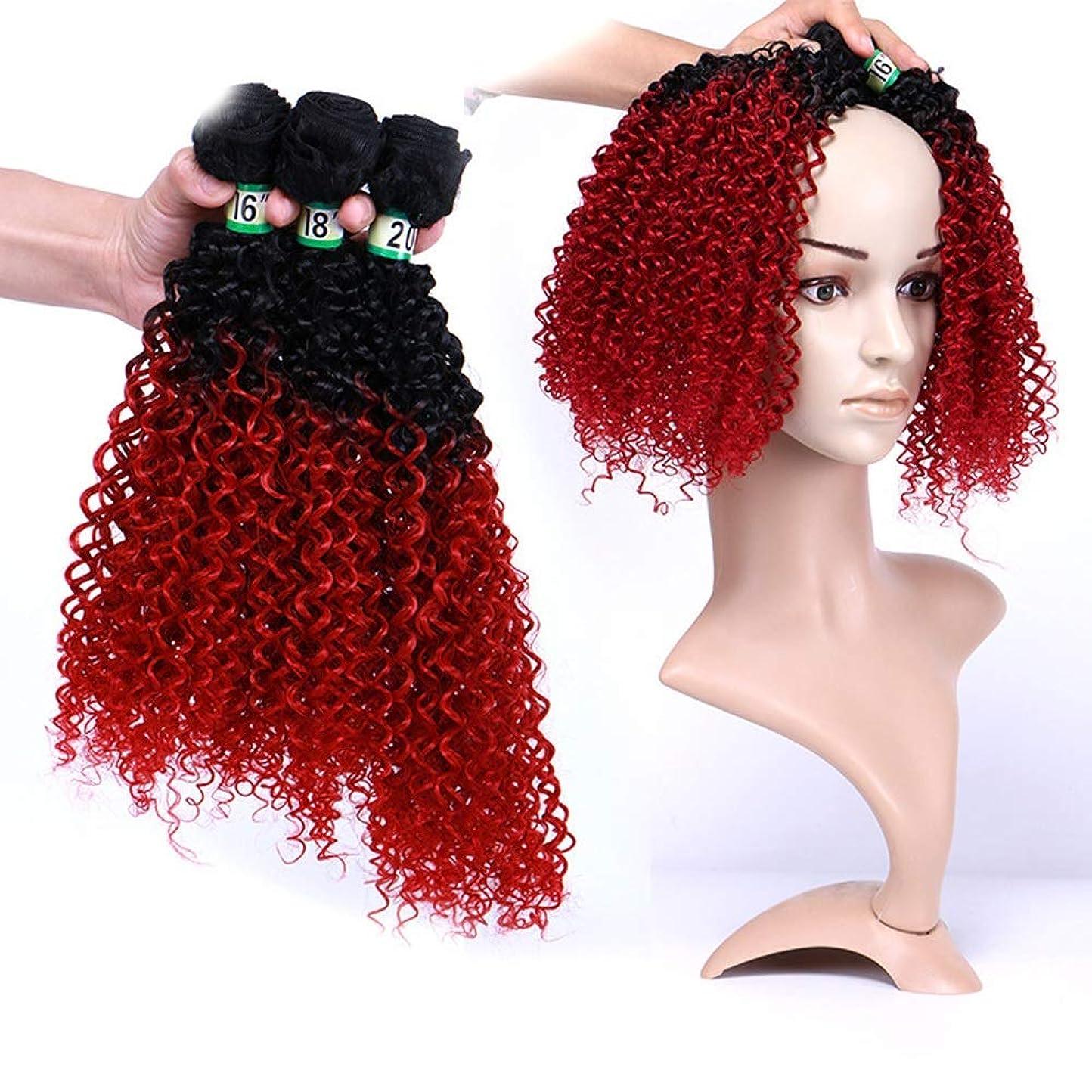 反射かもめ程度Yrattary その他の特徴巻き毛の髪飾り3束 - 赤2つのトーンの色の髪の拡張子70 g/個(16 '' 18 '' 20 ')1B / BUG黒合成髪レースかつらロールプレイングウィッグロング&ショート女性自然 (色 : レッド, サイズ : 16