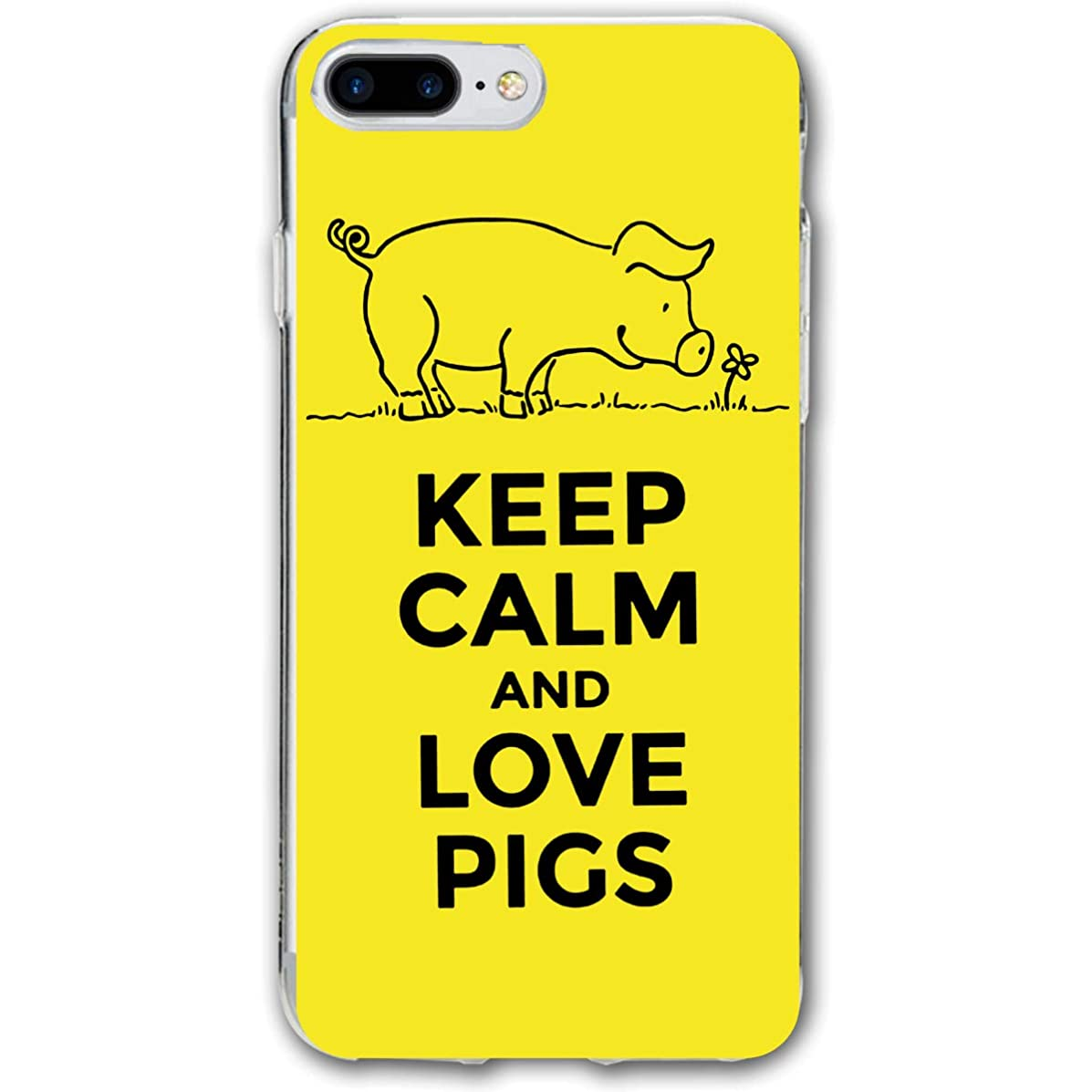 customgogo for iPhone 7 Plus Case, for iPhone 8 Plus Case, Keep Calm and Love Pigs Soft Silicone Gel Rubber Bumper Case Shell Shockproof Full-Body Protective Case Cover for iPhone 7 Plus /8 Plus 5.5