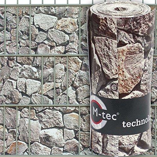 Sichtschutzstreifen mit Motiv/M-tec Print ® / PVC/Hellen Bruchstein Gabionen ✔ für 9 Reihen im Zaunfeld ✔ für Gittermattenzaun ✔ - SIE KAUFEN Hier DIREKT BEIM Hersteller -