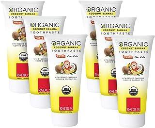 RADIUS USDA Organic Children's Coconut Banana Toothpaste 6 Count, 3oz Non Toxic Designed to Improve Gum Health and Help Pr...
