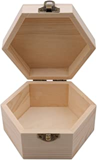 VWH Simple Portable Hexagonal Shaped Wooden Storage Box Jewelry Display Box Wedding Gift Box