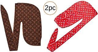f1505c8e 2pc Durag Silk Designer Supreme LV Do Rag Wave Cap Custom Durags with  Breathable Premium Silky