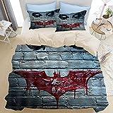 NR Sets de Beige Housse de Couettes 220 x 240cm + 2taies d'oreillers 50 * 75CM,Visage de Clown d'horreur décoratif sur Le Mur comme Le Joker de Batman,Parure de lit pour 2 Personnes