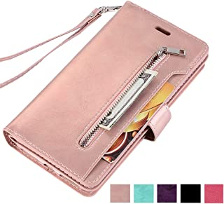 ZCDAYE Samsung Galaxy S7 Zipper Wallet Case,Premium Magnetic Multi-Functional Handbag Dual Folio PU Leather Stand Flip Case Cover with [Card Slots][Wrist Strap] for Samsung Galaxy S7,Rose Gold