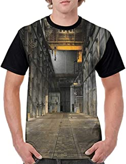Printed Short Sleeves,Industrial Decor Collection,Industrial Interior of an Old Factory Building Construction Spooky Warehouse Print,Mustard Grey S-XXL Baseball T-Shirt Tee Tops