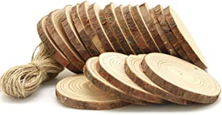 """YuBoBo Wood Slices 20 Pcs 2.8""""-3.2"""" Tree Slices Natural Round Unfinished Pre Drilled Tree Bark Log Discs with 49 Feet Jute Twine for DIY Ornaments Easter/Halloween/Christmas Party Decoration"""