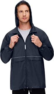 Men's Rain Jackets Waterproof With Hood Lightweight Packable Hiking Running Windbreaker