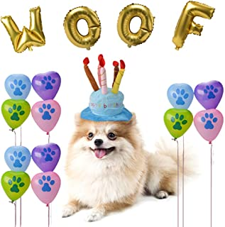 BINGPET Dog Birthday Hat with WOOF and Paw Print Balloons Dog Birthday Party Supplies Decoration Kit