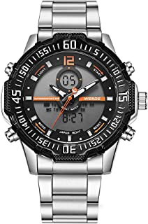 Lixada WEIDE WH6105 Dual Display Quartz Digital Men Watch Multifunctional Sports 3ATM Waterproof Big Dial Large Face Stopwatch Timer Week Wristwatch with PU Strap Band