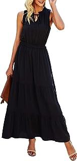 KIRUNDO 2021 Summer Women's Sleeveless Maxi Dress Solid Color Round Neck Tie Nec