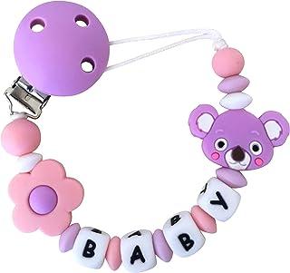 Attache tetine silicone de dentition fille, attaches sucette bébé original en perle sans BPA, utilisé comme anneau de dent...
